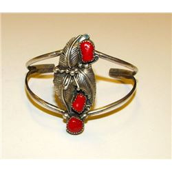 Vintage Old Pawn Native American Navajo Sterling Silver Mediterranean Coral Cuff Bracelet Squash Blo
