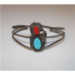 Old Pawn Native American Navajo Sterling Silver Coral Turquoise Cuff Bracelet