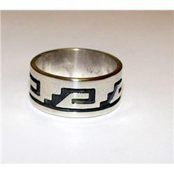 Vintage Native American Hopi Terry Wadsworth Sterling Silver Ring Size 9 Tribal Design