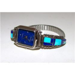 Vintage Native American Zuni Sterling Silver Turquoise Lapis Inlay Lady's Watch Band with Watch Mosa