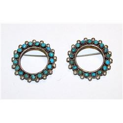 Old Pawn Zuni Sterling Silver Turquoise Matching Shirt Collar Brooches Set of 2. Rare