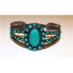 Vintage Old Pawn Native American Zuni Sterling Silver Cerrillos Mine Turquoise Rosette Cluster Cuff