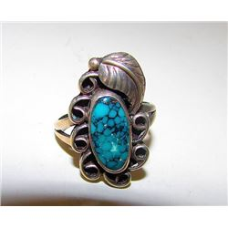 Vintage Old Pawn Native American Navajo Sterling Silver Spider Web Turquoise Ring Size 6 Squash Blos