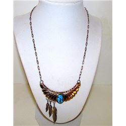Native America Navajo Harry Spencer Sterling Silver 12K GF Turquoise Statement Necklace Feather Desi