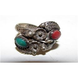 Navajo Old Pawn Native American Sterling Silver Turquoise Coral Bypass Ring Size 6.5 Squash Blossom