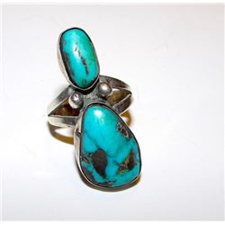 Old Pawn Native American Navajo Sterling Silver Turquoise Statement Ring Size 7