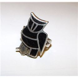 Old Pawn Zuni Sterling Silver Jet Onyx Inlay Owl Ring Size 7