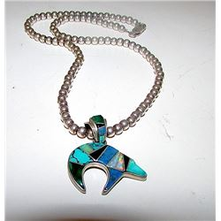 Vintage Native American Navajo TSF Sterling Silver Turquoise Lapis Opal Malachite Inlay Pierced Bear