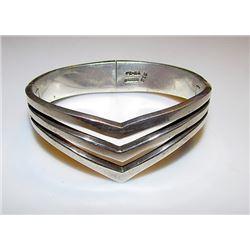Vintage Sterling Silver 925 Taxco Heavy Bangle Bracelet Art Deco Design TB-80 Sterling Hallmark 60 g