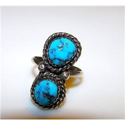 Vintage Old Pawn Native American R. Spencer Navajo Silver Kingman Mine Turquoise Statement Ring Size