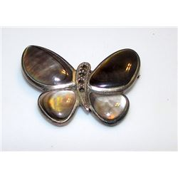 Vintage Sterling Silver Mother of Pearl Shell Butterfly Brooch Pin Figurals Collectible Art Nouveau