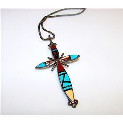 Native American Old Pawn Zuni Sterling Silver Turquoise Coral MOP Jet Mosaic Inlay Cross Pendant Nec