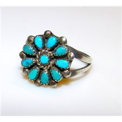 Vintage Old Pawn Native American Zuni Sterling Silver Sleeping Beauty Mine Turquoise Rosette Cluster