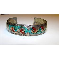Native American Navajo Old Pawn Sterling Silver 925 Turquoise Coral Chip Inlay Hand Etched Waves Des
