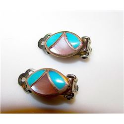 Vintage Old Pawn Native American Zuni Sterling Silver Turquoise MOP Zuni Mosaic Inlay Clip On Earrin