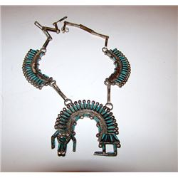 Old Pawn Zuni Sterling Turquoise Yei Squash Blossom. Rare, 1950s
