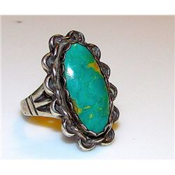 Vintage Old Pawn Native American Navajo Sterling Southwestern Mines Turquoise Statement Ring Size 7