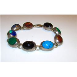Taxco Mexican Sterling Silver 925 Turquoise Lapis Malachite Azurite Agate Onyx Inlay Bracelet