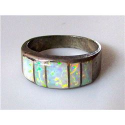 Native American Navajo Sterling Silver Opal Inlay Ring Size 9