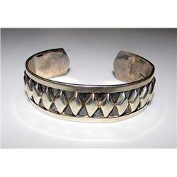 Vintage Sterling Silver 925 Taxco Cuff Bracelet Southwestern Design TJ-65 Sterling Hallmark
