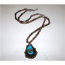 Vintage Old Pawn Native American Navajo Sterling Silver Kingman Mine Turquoise Traditional Design St