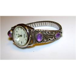 Vintage Native American Navajo Robert Becenti Sterling Silver Amethyst Lady's Watch Band with Watch