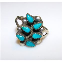 Vintage Old Pawn Native American Zuni Sterling Silver Turquoise Rosette Cluster Tree of Life Design