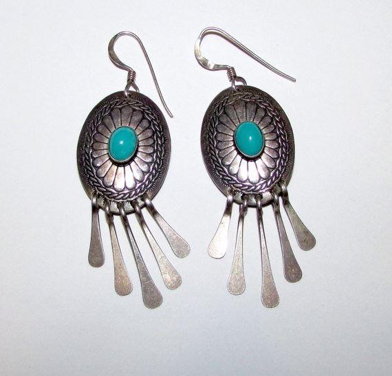 eca779084 Image 1 : Vintage Native American Navajo Sterling Silver Turquoise Pierced  Dangle Earrings Concho Design ...