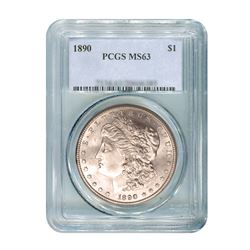 1890 $1 Morgan Silver Dollar - PCGS MS63