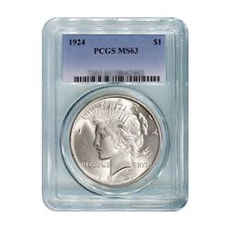 1924 $1 Peace Silver Dollar - PCGS MS63