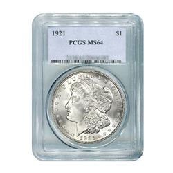 1921 $1 Morgan Silver Dollar - PCGS MS64