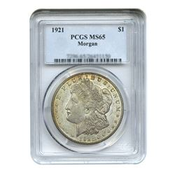 1921 $1 Morgan Silver Dollar - PCGS MS65