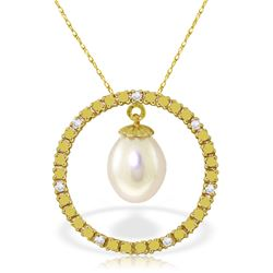 Genuine 4.1 ctw Pearl & Diamond Necklace Jewelry 14KT Yellow Gold - GG-2513-REF#39R4P