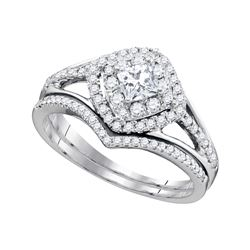 Natural 0.75 ctw Diamond Bridal Set Ring 14K White Gold - GD89770-REF#125M9G