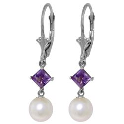 Genuine 5 ctw Pearl & Amethyst Earrings Jewelry 14KT White Gold - GG-4527-REF#29M7T