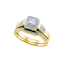 Genuine 0.71 CTW Diamond Bridal Set Ring 14KT Yellow Gold - GD70256-REF#107N9S