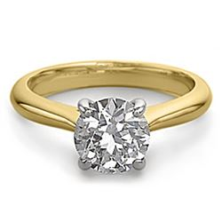 10K 2Tone Gold Jewelry 0.80 ctw Natural Diamond Solitaire Ring - WJA1321 - REF#263W7Z