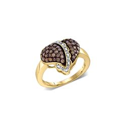 Genuine 0.62 CTW White & Cognac Diamond Ladies Ring 10KT Yellow Gold - GD76807-REF#50W3G
