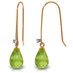 Genuine 1.38 ctw Peridot & Diamond Earrings Jewelry 14KT Rose Gold - GG-2877-REF#14V6W