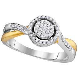 Genuine 0.20 CTW Diamond Ladies Ring 10KT Two-tone Gold - GD105793-REF#23W3G