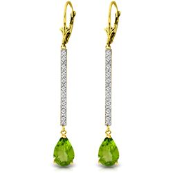 Genuine 3.6 ctw Peridot & Diamond Earrings Jewelry 14KT Yellow Gold - GG-2804-REF#50H9X