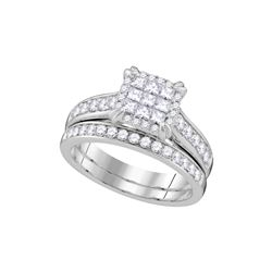 Natural 1.0 ctw Diamond Bridal Set Ring 14K White Gold - GD107366-REF#140G3W