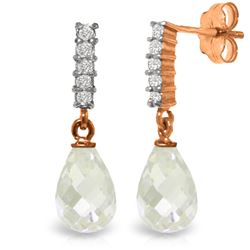 Genuine 4.65 ctw White Topaz & Diamond Earrings Jewelry 14KT Rose Gold - GG-3890-REF#36A2K