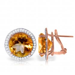 Genuine 12.4 ctw Citrine & Diamond Earrings Jewelry 14KT Rose Gold - GG-4794-REF#120M5T