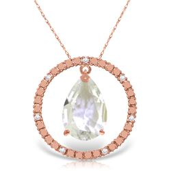 Genuine 6.6 ctw White Topaz & Diamond Necklace Jewelry 14KT Rose Gold - GG-2520-REF#52N9R