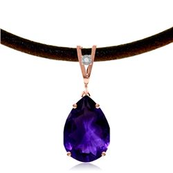 Genuine 6.01 ctw Amethyst & Diamond Necklace Jewelry 14KT Rose Gold - GG-4122-REF#32M3T