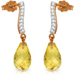 Genuine 4.78 ctw Citrine & Diamond Earrings Jewelry 14KT Rose Gold - GG-4073-REF#46Y2F
