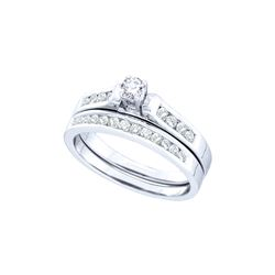 Natural 0.50 ctw Diamond Bridal Set Ring 14K White Gold - GD46760-REF#80W9H