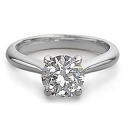 18K White Gold Jewelry 0.80 ctw Natural Diamond Solitaire Ring - WJA1311 - REF#283H7W