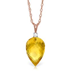 Genuine 9.55 ctw Citrine & Diamond Necklace Jewelry 14KT Rose Gold - GG-4709-REF#25Y3F